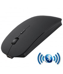 Rechargeable Super Slim Bluetooth Wireless Mouse (Built in Battery) - Rubber Black