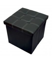 PU Folding Storage Ottoman Cube / Stool / Chair - Black
