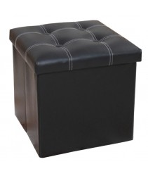 PU Folding Storage Ottoman Cube / Space Organizer / Stool / Foldable Chair - Black