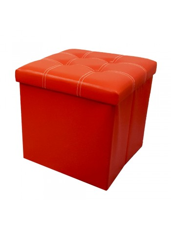 PU Folding Storage Ottoman Cube / Stool / Chair - Red