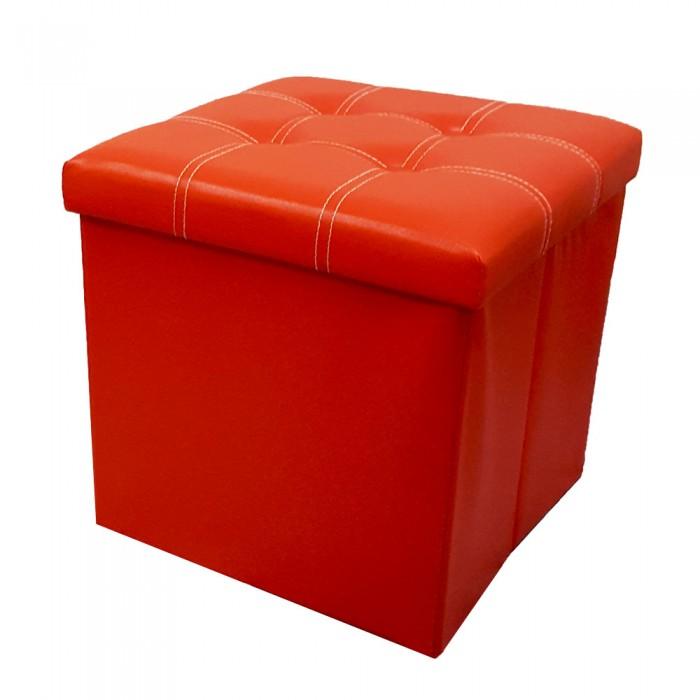 PU Folding Storage Ottoman Cube / Stool / Chair - Red  sc 1 st  EvoGadgets Marketing & PU Folding Storage Ottoman Cube / Space Organizer / Stool / Foldable ...