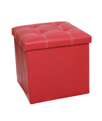PU Folding Storage Ottoman Cube / Space Organizer / Stool / Foldable Chair - Red