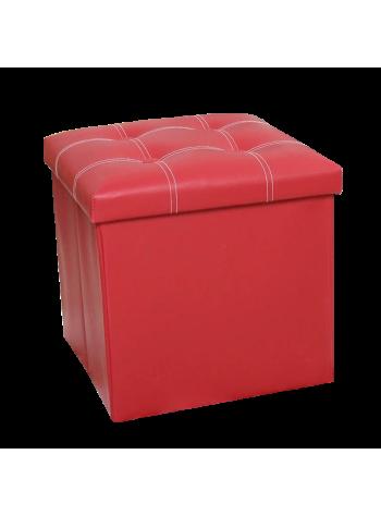 PU Folding Storage Ottoman Cube / Space Organizer / Stool / Foldable Chair - Red