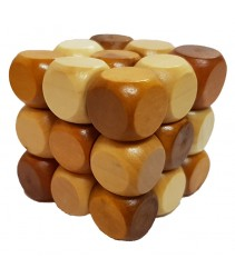3D Wooden Puzzle - Brain Teaser Game or Relieve Pressure Game  (Cube)