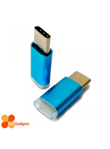 USB Type C to Micro USB Adapter - Light Blue
