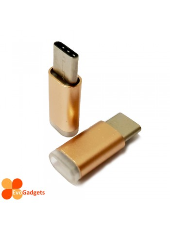 USB Type C to Micro USB Adapter - Gold