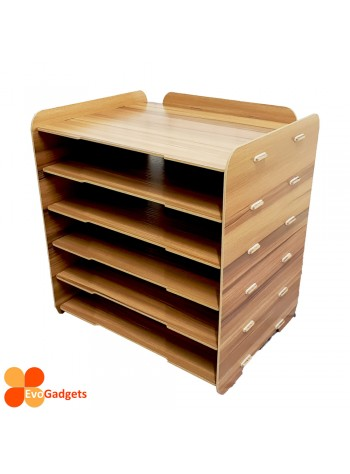 DIY Table Top A4 Documents Organizer / Document Holder / Rack (Brown)