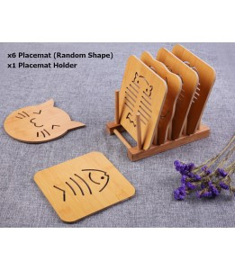 6 pcs Wooden Table Placemat (Non slip) with Holder