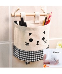 Hanging Storage Pouch or Storage Pockets - Black Plaid (Free x1 Magic Hook)