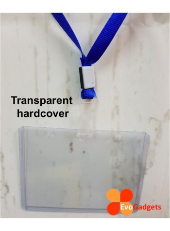 Hardcover Horizontal ID Badge Holder with Lanyard or Strap