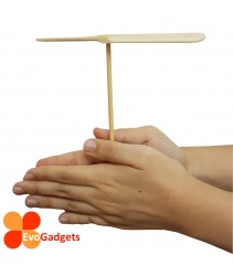 Eco Friendly Bamboo / Wooden Unpainted Hand Spin Propeller Toy for Children and Team Building