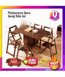EvoGadgets Flex-Table Foldable Multipurpose Space Saving Table Set / Dining Table / Folding / Workstation / Study Table