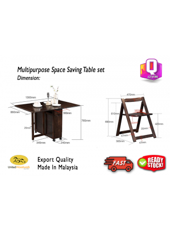 EvoGadgets Flex-Table Foldable Multipurpose Space Saving Table Set / Dining Table / Folding / Workstation / Study Table