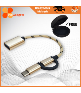 EvoGadgets 2 in 1USB OTG Connector / Cable / Adapter (Support Type C and Micro USB Devices) / FREE Mini Earphone Bag