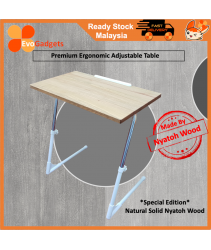 Premium Ergonomic Adjustable Table with Natural Nyatoh Solid Wood Tabletop (Made in Malaysia, Export Quality to Japan)