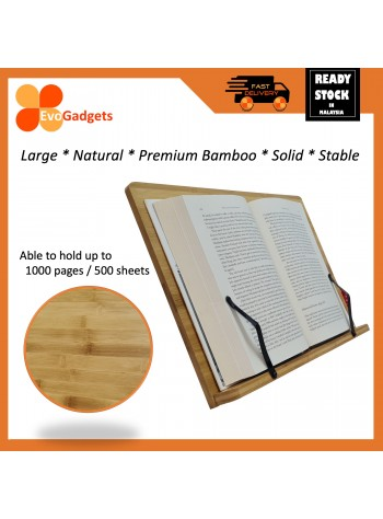 Natural Premium Adjustable Bamboo Book Stand / Clips / Book Holder with Clips