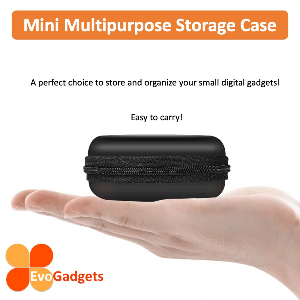 EvoGadgets Mini Multipurpose Storage Case Holder Bag for earpiece, USB adapter, USB Cable or earbuds
