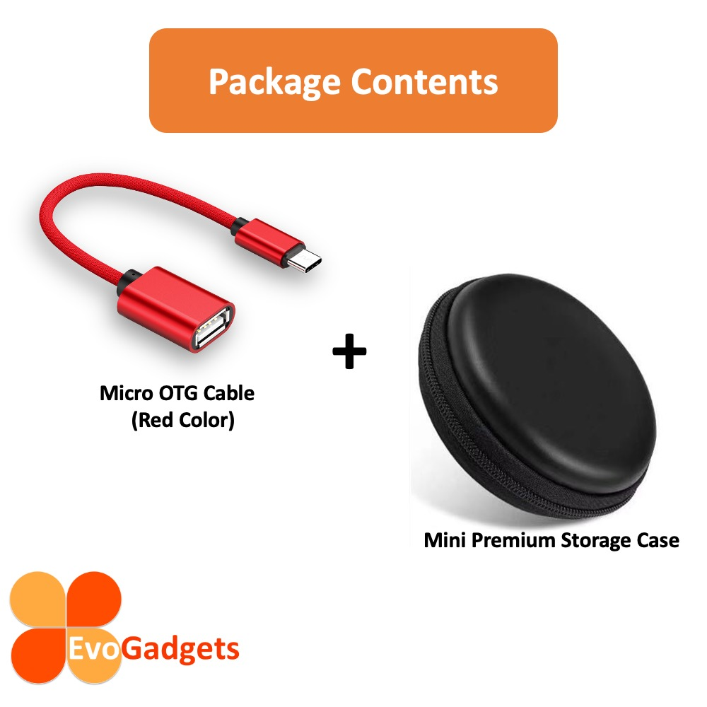 EvoGadgets Micro USB 2.0 OTG Cable support USB disk, Keyboard, and mouse.